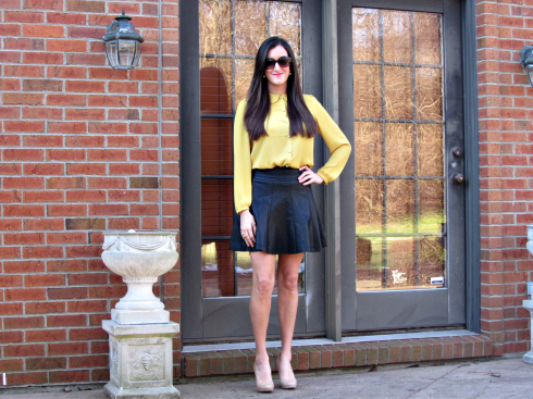 black yellow urban outfitters leather skirt bcbg