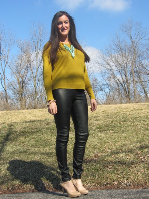 H&M leather pants, LOFT sweater