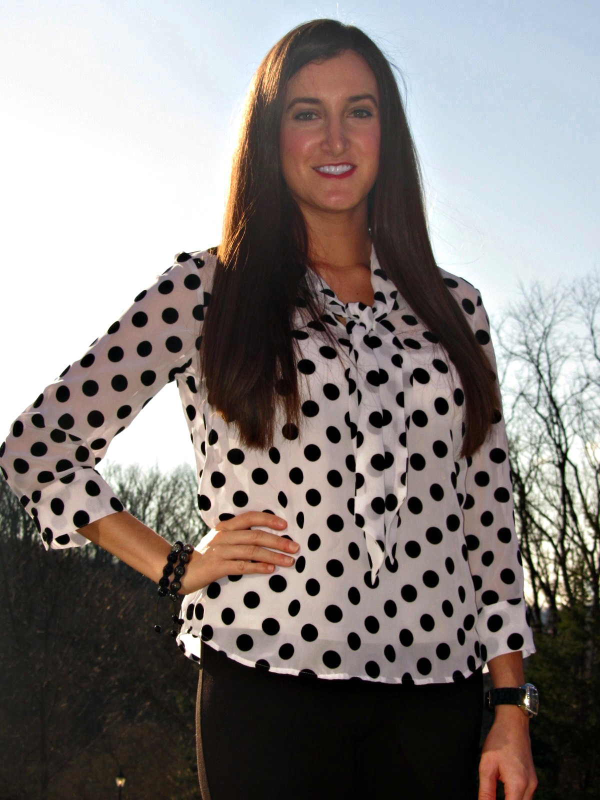 White Blouse Black Dots 75