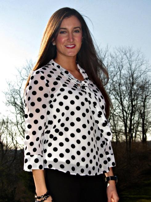 Kensie Black White Polka Dot Top