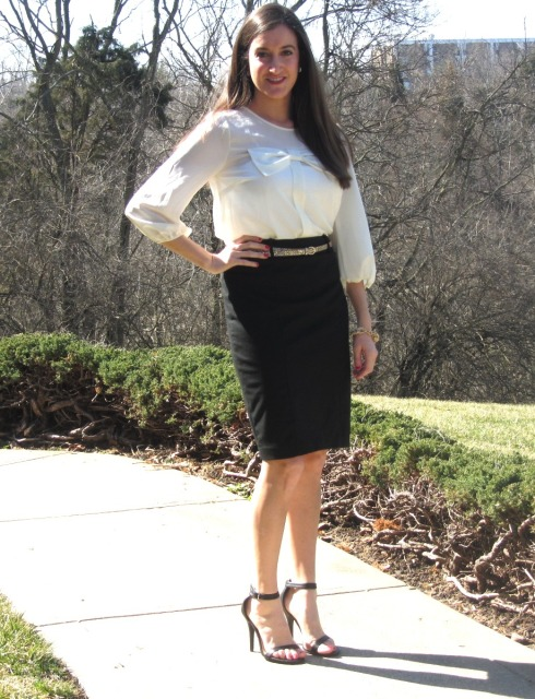 White Forever 21 Bow Top, Lulu's Ankle Strap Heels