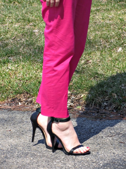 J.Crew hot pink cafe capri pants, Lulu's Black Ankle Strap Heels