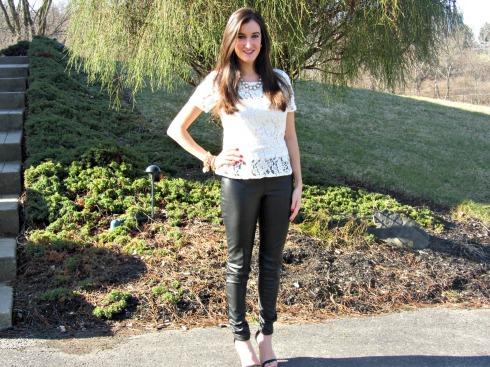DKNY Lace peplum, H&M leather pants, Lulu's Shoes