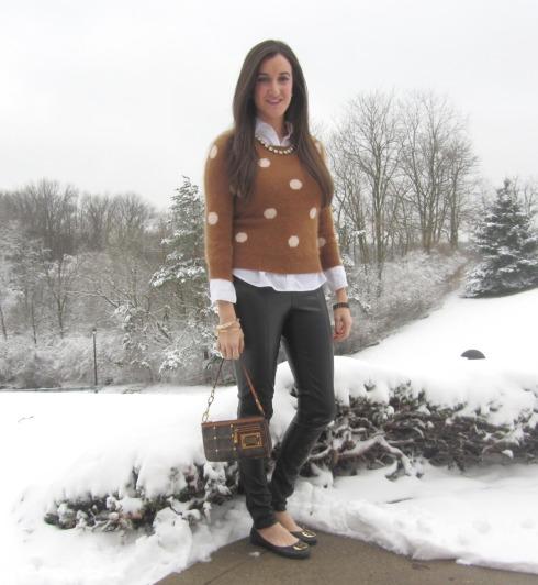 Madewell polka dot sweater, h&m leather pants