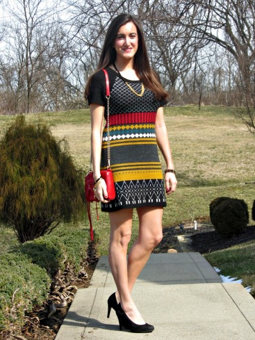 Colorful Knit Dress, Rebecca Minkoff Mini MAC