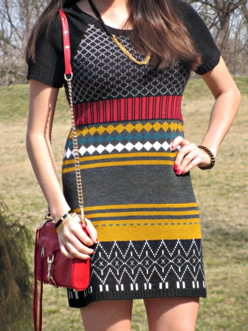 Green Red Yellow Colorful Knit Dress, Patterned Knit Dress