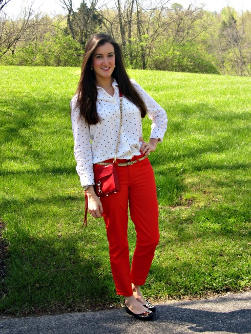 Calvin Klein Red Pants, Urban Outfitters Polka Dot Blouse, Rebecca Minkoff Red Mini MAC, Tory Burch Reva Flats