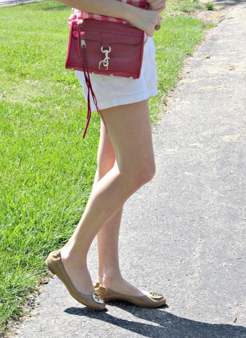 Calvin Klein White Denim Shorts, Tory Burch Reva Flats Tumbled Patent