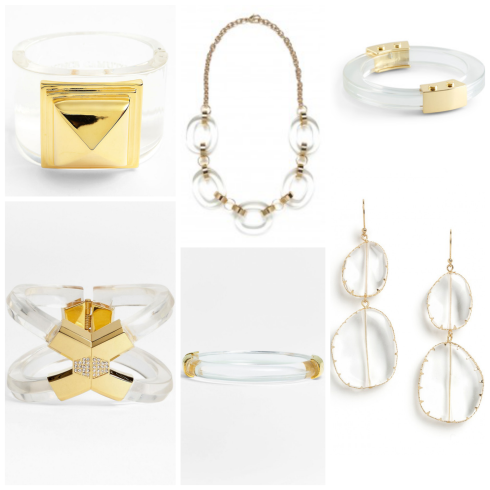 Clear jewelry, lucite jewelry, transparent jewelry
