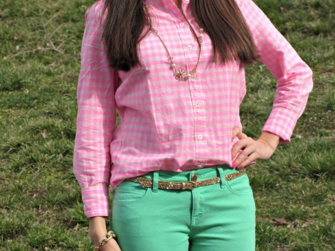 J.Crew Pink Gingham Shirt, J.Crew Glitter Belt
