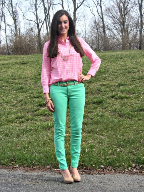 Forever 21 Mint Pants, J.Crew Pink Gingham Shirt
