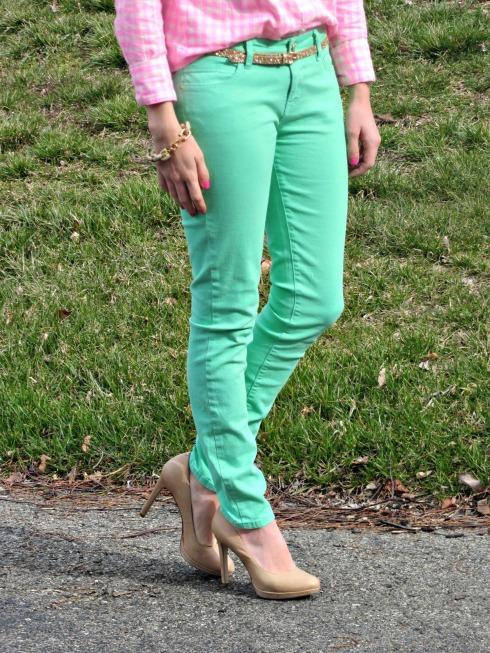 Forever 21 Mint Pants, BCBG nude heels