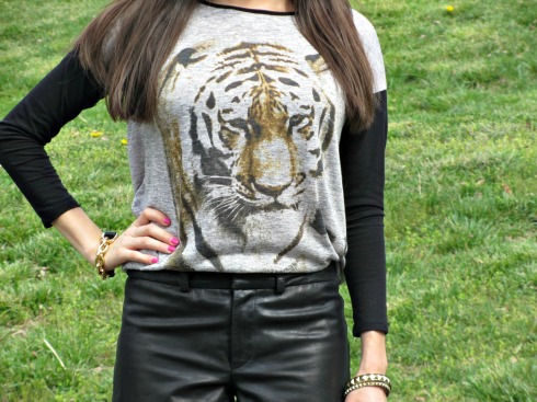 Dillard's Gianni Bini leather shorts, Chelsea and Violet Tiger Shirt