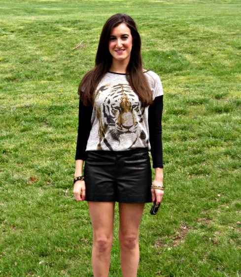 Gianni Bini Black leather shorts, Chelsea and Violet Tiger Top