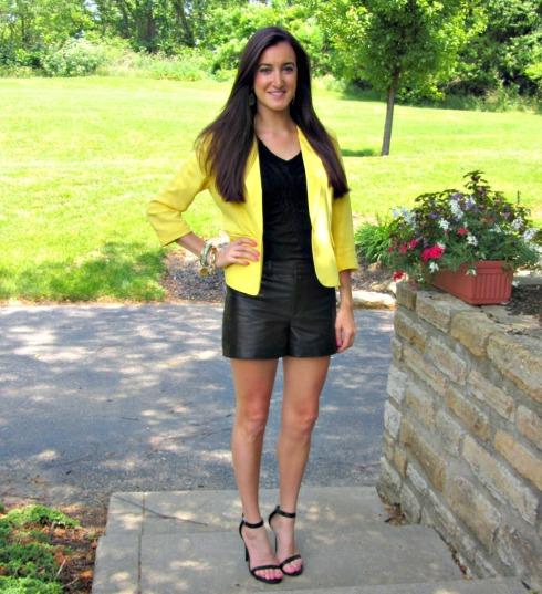 Yellow Forever 21 Blazer, Gianni Bini Leather Shorts, Anne Michelle Enzo Ankle Strap Heels