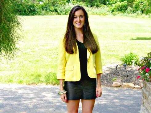 Yellow Forever 21 Blazer, Gianni Bini Leather Shorts