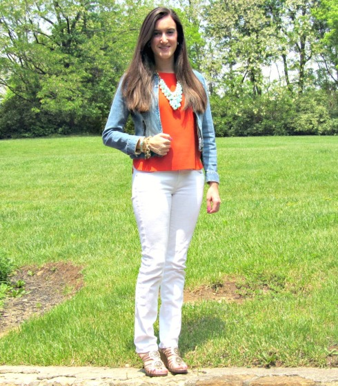 Sigrid Olsen jean jacket, AG White Jeans