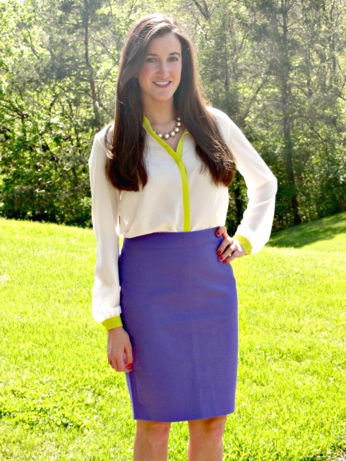 J.Crew No. 2 Purple Pencil Skirt, Gianni Bini White Neon Green Blouse