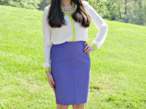 Gianni Bini White Neon Green Blouse, J.Crew No. 2 Pencil Skirt Purple
