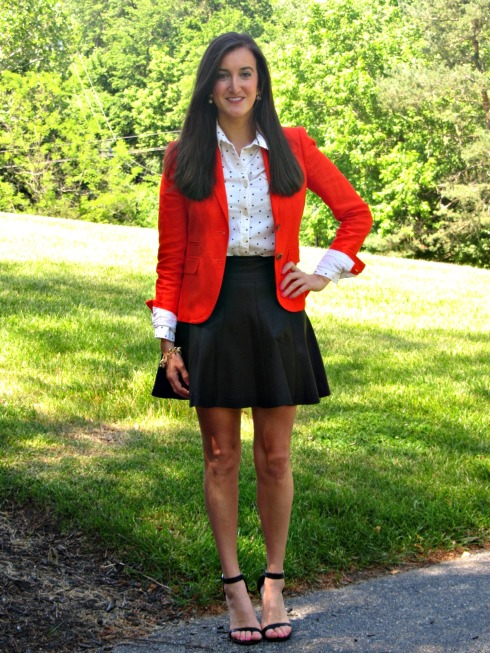 J.Crew Red Schoolboy Blazer, Urban Outfitters Leather Skirt