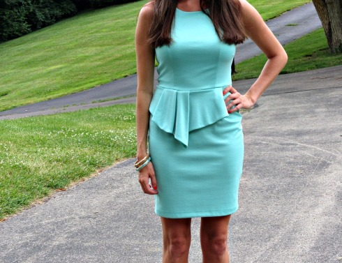Bar III dress, sleeveless high-neck peplum sheath