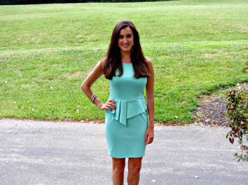 Bar III Mint Peplum High-Neck Dress