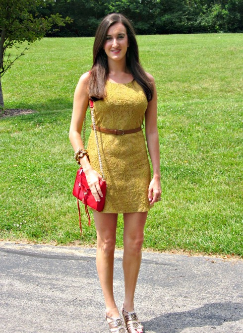 Blue Pepper Yellow Lace Dress, Tahari Wedges