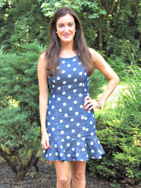Chambray Polka Dot Shift Dress