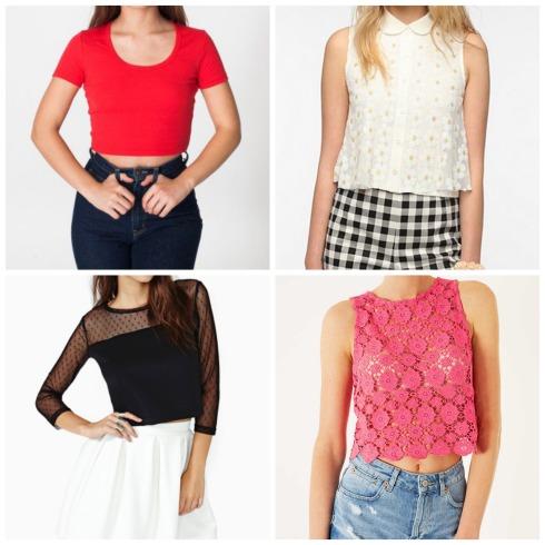American Apparel Baby Rib Crop Top, Nasty Gal Mesh Dot Crop Top, Urban Outfitters Daisy Crop Top, Topshop Pink Crochet Crop Top