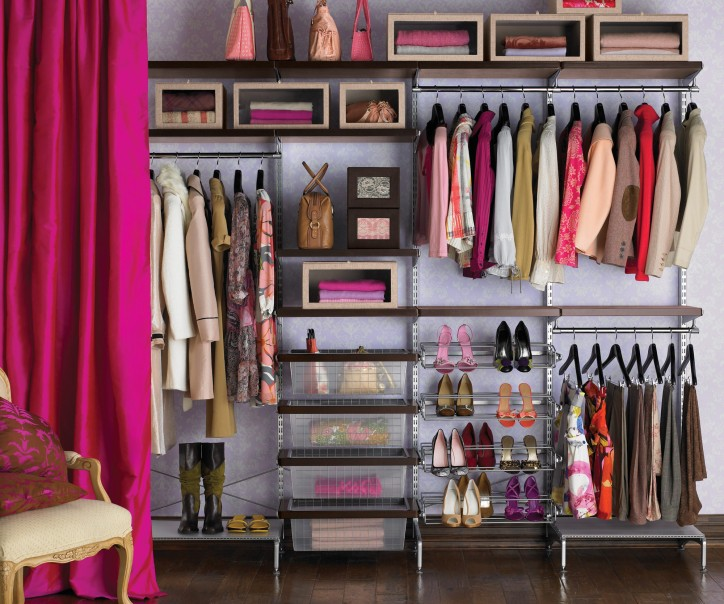 Organized Closets Sorted by Type and Color with Shoe Rack