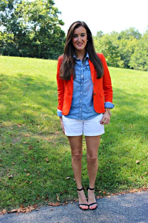 Red Blazer and Chambray Shirt