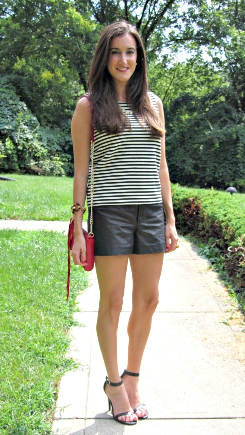 Black and White Striped Tank Top, Leather Shorts