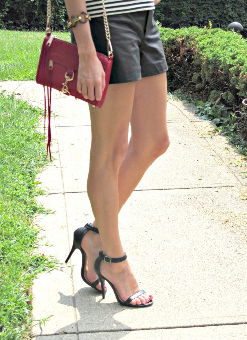Leather Shorts and Ankle Strap Heels