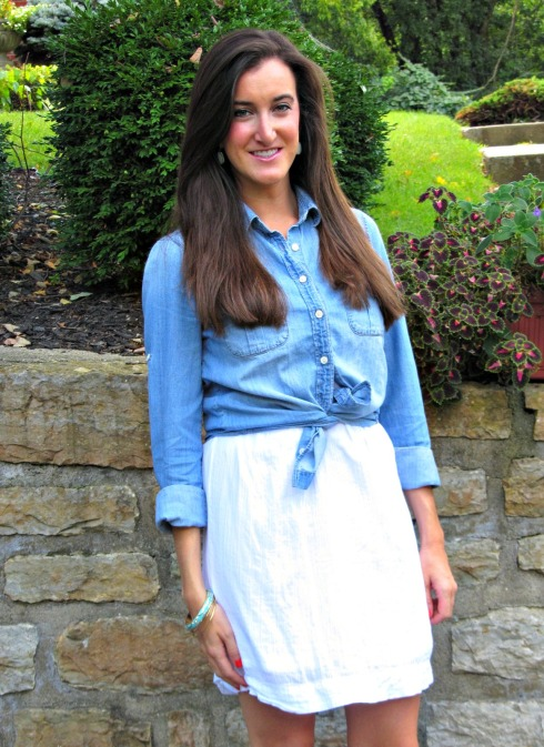 J.Crew Keeper Chambray Shirt and White Dress