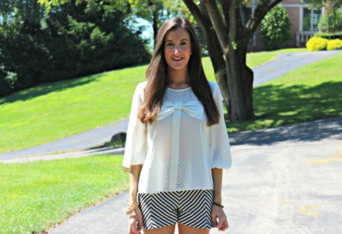 Bow Blouse Chevron Shorts