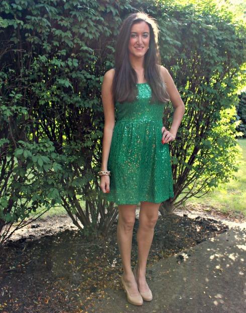 Green Sequin Jersey Dress