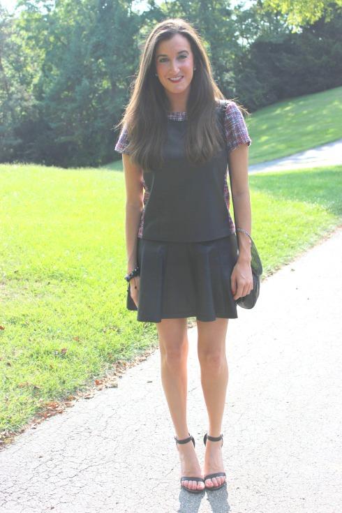 Rachel Roy Zip Back Tee Leather Skirt
