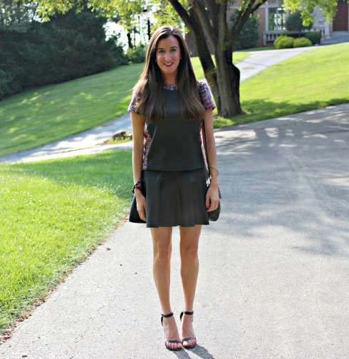 Leather skirt and top outfit