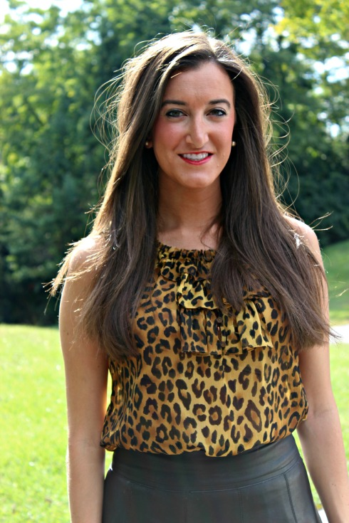 Leopard Top and Leather Skirt