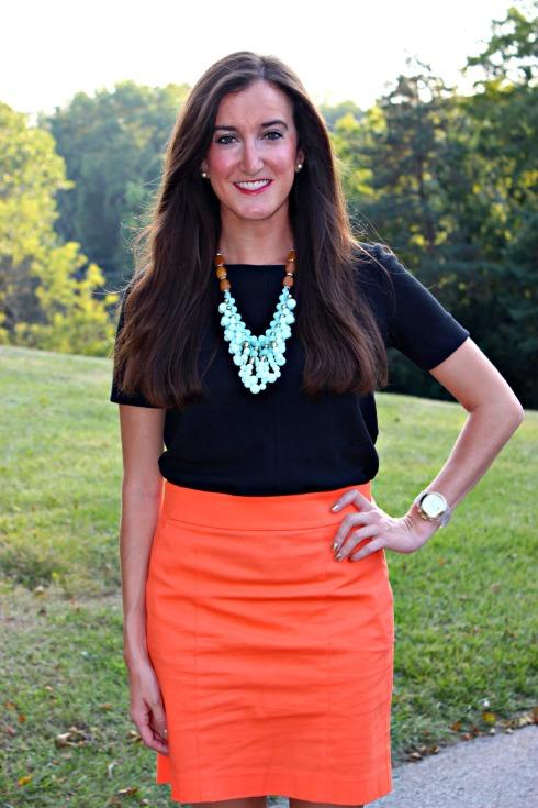 Black Top Orange Skirt