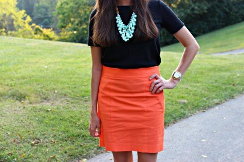 Ann Taylor Stretch Cotton Twill Madison Skirt Orange