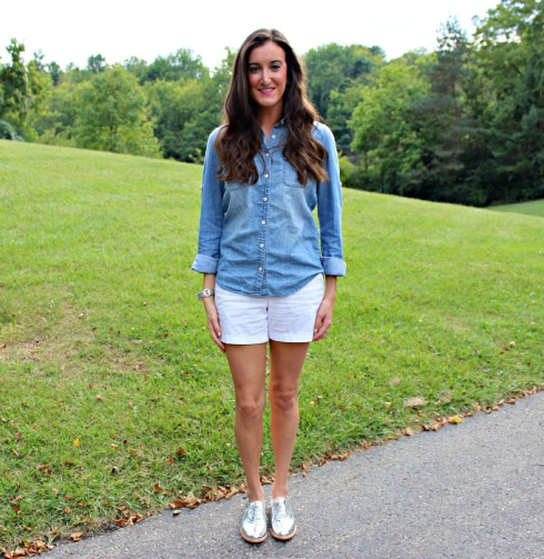 White Shorts and Chambray Top