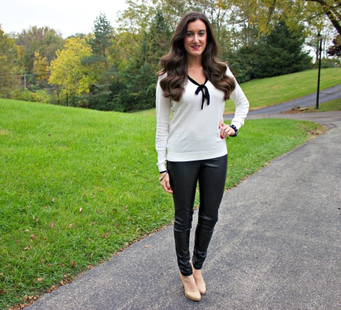 Leather Pants and White Sweater