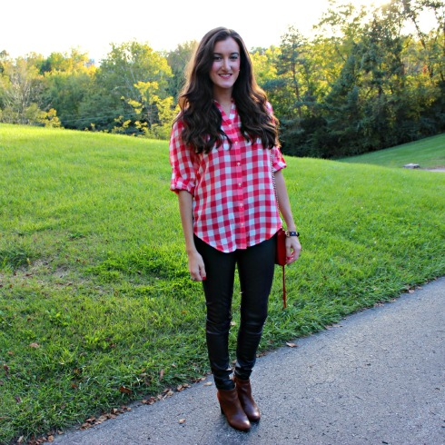 Leather Pants Gingham Top