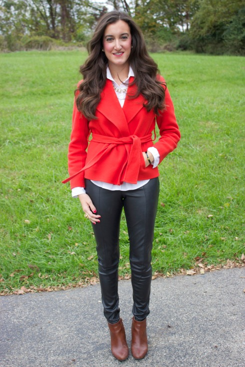 Red Wool Coat and Leather Pants