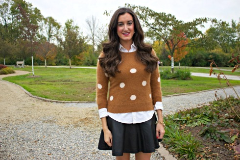 Leather Skirt and Polka Dot Sweater