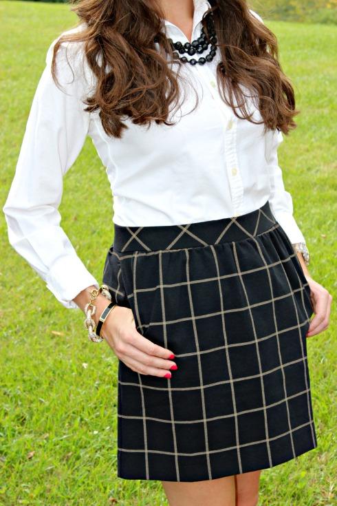 Windowpane Plaid Print Skirt & White Button Down