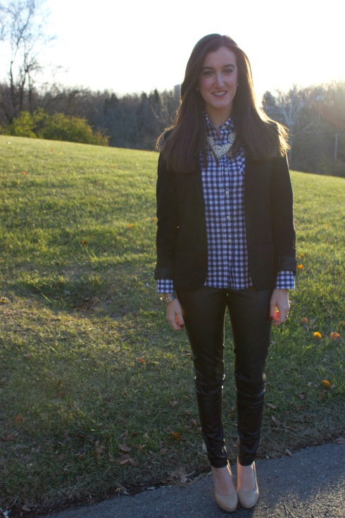 Leather Pants Navy Gingham Shirt