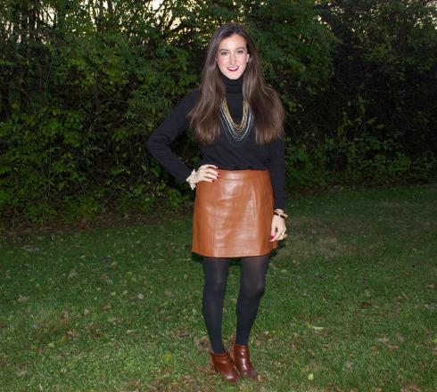 Brown Leather Mini Skirt Gap Turtleneck