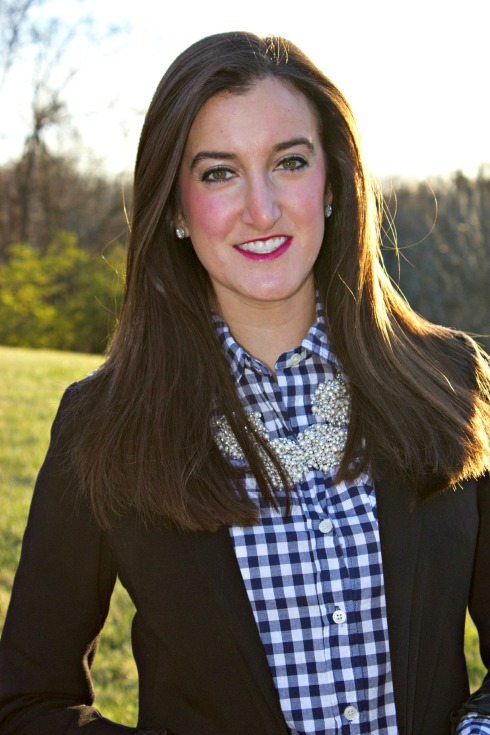 Gingham Navy Shirt Kate Spade Necklace